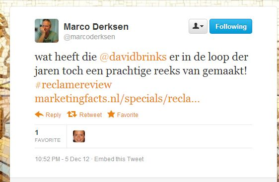 Mooi compliment van Marco Derksen (Marketingfacts)