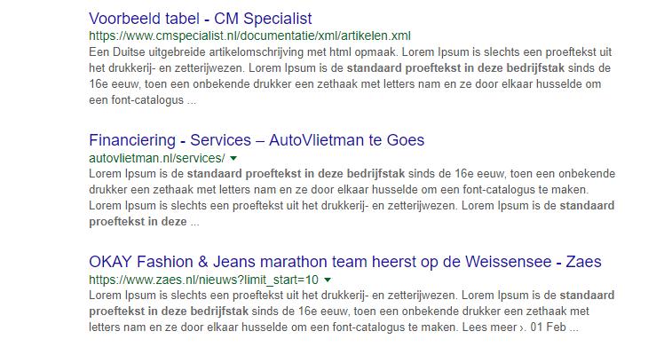 Lorem ipsum geïndexeerd door Google