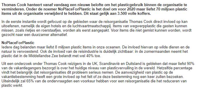 Plastic beloftes van Thomas Cook